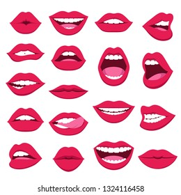 Set of female lips. Pink lips collection of a sexy woman. Woman's lips gestures flat vector set