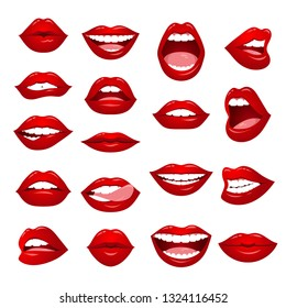 Set of female lips. Red lips collection of a sexy woman. Woman's gradient lips gestures set