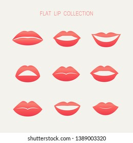 Set of female lips red colors flat design - vector