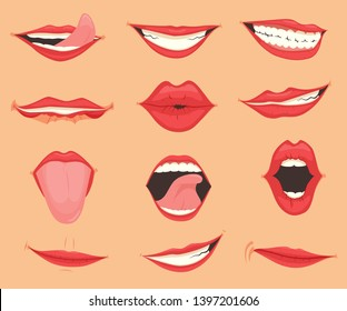 Set of female lips with various mouth emotions and expressions. Vector illustration.