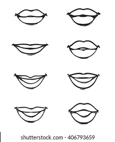 Set of female lips without background of different shapes, icons black lines and strokes, mouth in a smile, closed and talking, part of the face, isolated vector design elements