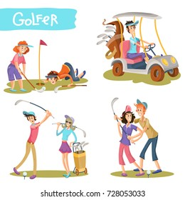 Set of female and male golfers cartoon characters playing golf, learning hold stick, hitting ball, driving golf car vector illustration isolated on white. Funny players couple on field collection