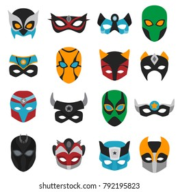Set of female and male superhero masks with various ornaments, horns and signs isolated vector illustration