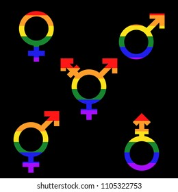 Set of female, male, transgender, bigender and androgyne symbols flat vector icons.