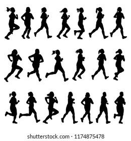 Set of female runner silhouette vector on white. Healthy concept.