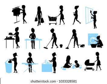 set of female silhouette graphics at  housework, household.woman cooking baking cleaning washing floor windows dishes, makes laundry, iron, shopping, play teach walk with kid, home chores