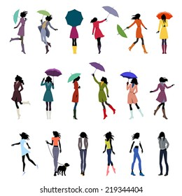 Set of female silhouettes in autumn