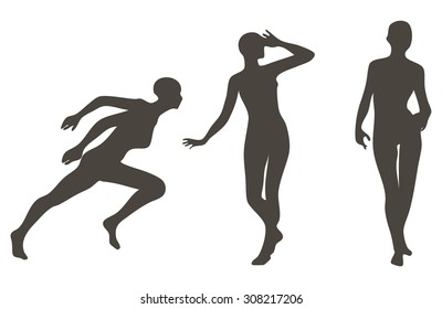 Set of female silhouettes in different poses