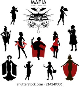 Set of female silhouettes retro 1930s style Mafia theme gangster actress dancer starlet journalist
