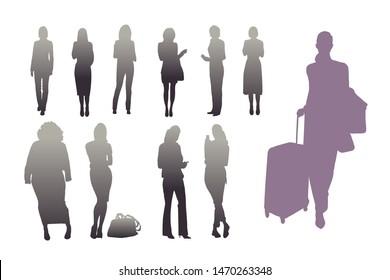 Set of female silhouettes. Vector illustration of different variants of female silhouettes.