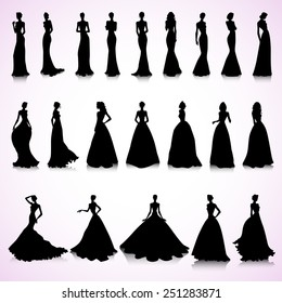 Set of female silhouettes in wedding dresses