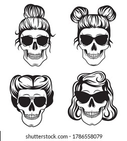 Set of female skulls. Collection of skulls with stylish faces in sunglasses. Retro bones. Halloween decoration. Vector illustration isolated on white background.