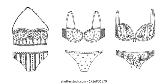Set of female swimsuits. Vector isolated elements. Doodle style.