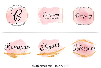 Set of feminine badge with peach watercolor background, geometric frame, and gold glitter. Beautiful logo for branding and wedding card composition design concept