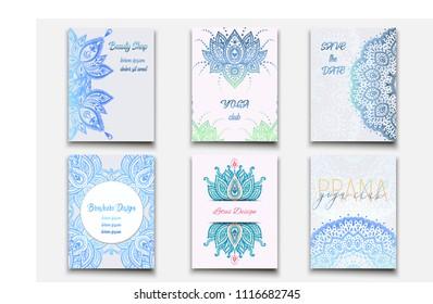 Set of feminine business brochure templates. Mandala ornament. Arabesque pattern for yoga, cosmetic, women's club etc.