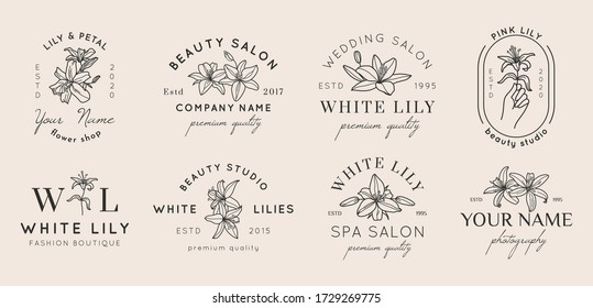 Set of Feminine logos with Lily flowers in simple minimal linear style. Vector floral emblem and icon for Beauty Salon, SPA, Wedding Boutiques, Photographers, fashion store, flower shop