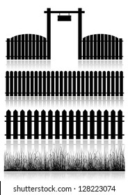 Set of fences, gate and grass isolated on white. Vector illustration.