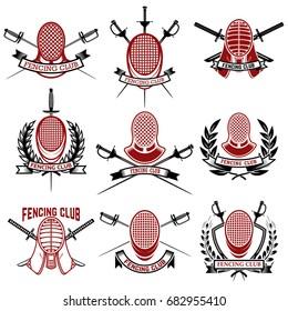 Set of fencing club emblems templates. Rapier, fencing face guard. Design elements for logo, label, badges, sign, brand mark. Vector illustration