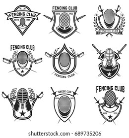 Set of fencing sport emblems, badges and design elements. Fencing swords, face guard. Vector illustration