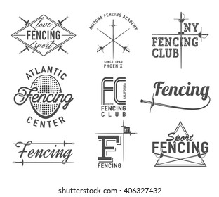 Set of Fencing sports vector logo, icon, label, emblem, badge, insignia, elements typography design with Fencing equipment - rapier, foil, mask for web or print. Love fencing sport inspirational quote