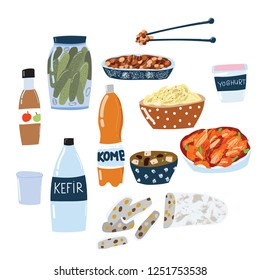 Set of fermented food, kimchi, kefir, yoghurt, miso, apple cider vinegar, kombucha, pickles, tempeh, sauerkraut. Hand drawn doodle style