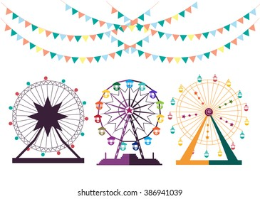 Set of Ferris Wheel from amusement park, vector illustrations