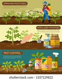 Set Fertilizer Potatoes and Spraying Pesticides. Horizontal Flat Banner Pest Control. Vector Illustration on Beige Background. Safe Work with Plants in Agriculture, Spraying Fertilizer.