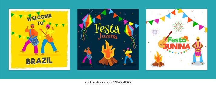 Set of Festa Junina party celebration poster or template design with Brazilian men playing music instrument.