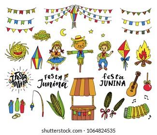 Set of Festa Junina traditional celebration symbols. Hand drawn vector illustration.