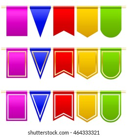 Set festival flags of different colors and shapes. White background.