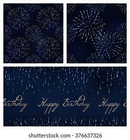 set of festive birthday firework seamless pattern bursting in various shapes sparkling on black background vector