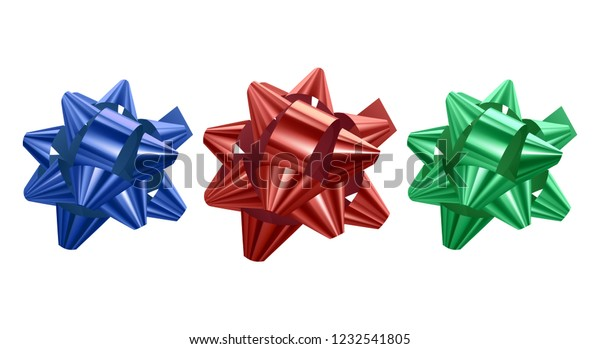 Set of festive bows of blue, red and green colors on white background, vector illustration