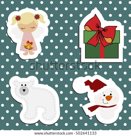 set a festive childrens christmas stickers new year collection of label templates and decals for