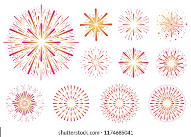 Set of festive colored fireworks isolated on white background.