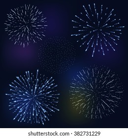 set of festive fireworks bursting in various shapes sparkling on black background abstract vector illustration