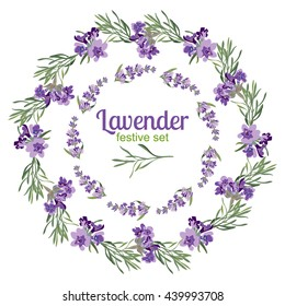 Set festive frames and elements with Lavender flowers for greeting card. Botanical illustration are drawn by hand