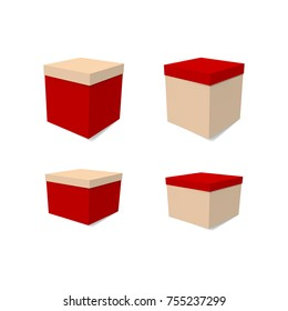 A set of festive gift boxes for Christmas. Red white collection vector illustration. The Celebration Of The New Year.