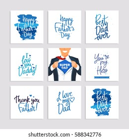 Set of festive gift cards to the Father's Day. Calligraphy and lettering. Vector illustration on white background
