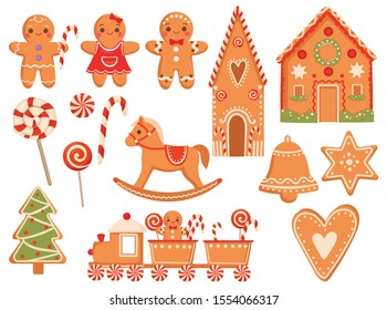 Set of festive gingerbread cookies. Collection of Christmas treats. Set of Christmas elements gingerbread, Santa's house, lollipop and snowflake. Vector illustration on a white background.