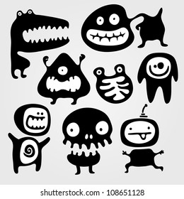 Set of few monsters silhouettes with different emotions