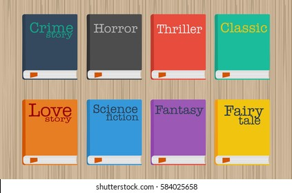 Set of fiction genre icons romance, fairytale, detective, adventure, science fiction, horror.