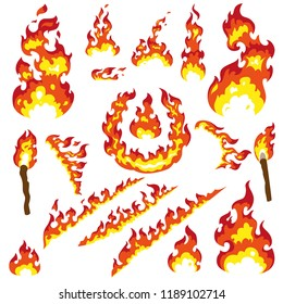 Set of fier elements: bonfire, fire, torch, flambeau, camp fire, ring of fire, sparks. Cartoon stiyle. Big collection for your disign, FX effects, tattoo, vinyl or stickers.