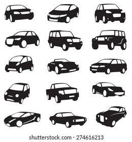 set of fifteen black cars silhouettes