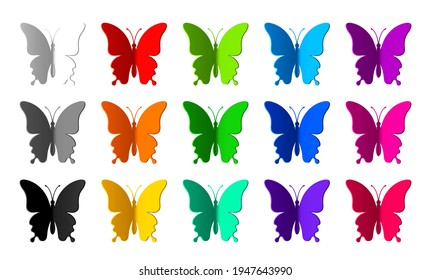 Set of fifteen colored paper butterflies isolated on white background. Silhouette of a butterfly is perfect for stickers, icons, greeting cards and gift certificates