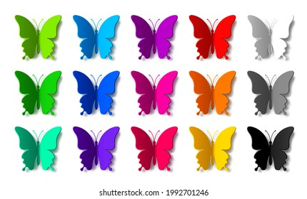 Set of fifteen colored paper butterflies with shadows isolated on white background. Silhouette of a butterfly is perfect for stickers, icons, greeting cards and gift certificates