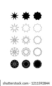 Set of fifteen different styles of nine pointed star (Nonagram) and Nonagon.