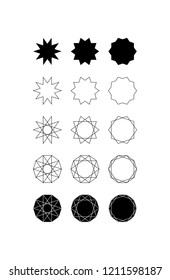 Set of fifteen different styles of ten pointed star (Decagram) and Decagon.
