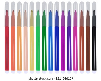Set of fifteen markers with basic colors for drawing and painting. For sale and advertising markers and drawing them. Felt-tipped pen for courses on drawing. Set of markers with a cap for children.