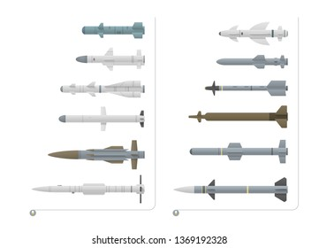 Set of fighter aircraft missiles is isolated on a white background. There are air-to-air missiles and air-to-surface missiles. The set rockets have different forms and colors.