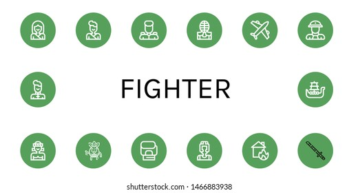 Set of fighter icons such as Karate, Judo, Military, Kendo, Airplane, Fireman, Muay thai, Wrestler, Boxing gloves, Boxer, House on fire, Katana, Wushu, Battleship , fighter